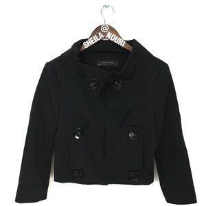 Zara | Black Crop Jacket w/ Hook Closure & Buttons